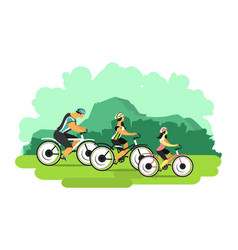 Cyclists in nature vector