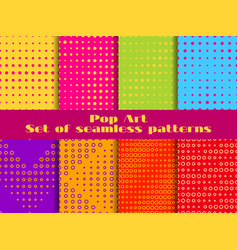 dotted pop art seamless pattern set halftone vector image