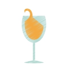 Drawing glass cup champagne drink celebration vector