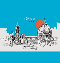 drawing sketch florence italy vector image