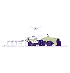 Drone watering tractor flat driverless vector