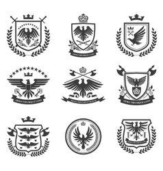 Eagle emblems icon set black vector