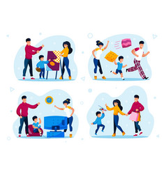 family shopping naughty child education vector image