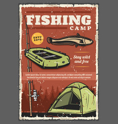 fishing rod fish fisherman boat and tourist tent vector image