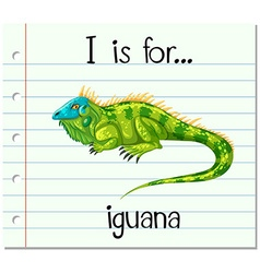 Flashcard letter I is for iguana vector image