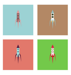 Flat icon design collection space rocket vector