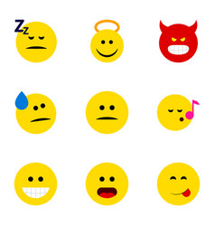 Flat icon expression set of displeased pouting vector