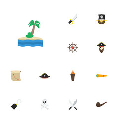 Flat icons corsair treasure map vessel and other vector