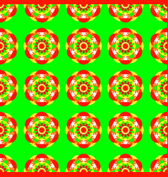 flower mandala seamless pattern bright green vector image