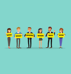 Group business people holding board with who vector