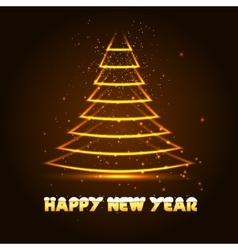 Happy New Year with Xmas tree vector image