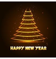 Happy New Year with Xmas tree vector