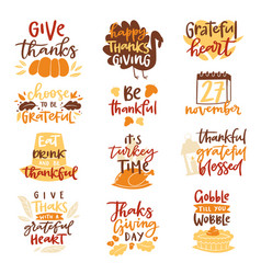 Happy thanksgiving text logo lettering vector