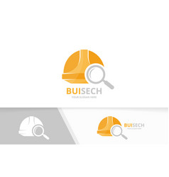 Helmet and loupe logo combination hat and vector