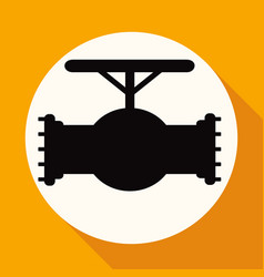 icon pipes valve on white circle with a long vector image