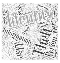 identity theft video Word Cloud Concept vector image