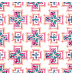 Intricate crosses pattern tile background vector