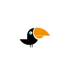 keel billed toucan black bird with yellow beak vector image