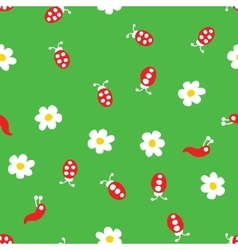 Ladybug worm and flowers seamless pattern vector image
