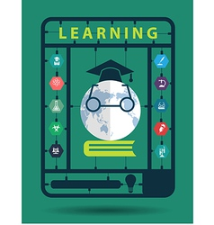 Learning idea concept with trendy science icons vector