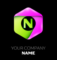 letter n logo symbol in colorful hexagonal vector image