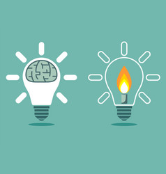 light bulb with a candle and brain in lamp vector image