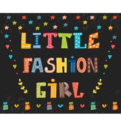 Little fashion girl card Cute graphic for kids vector