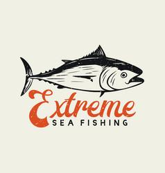 Logo design extreme sea fishing with tuna fish vector