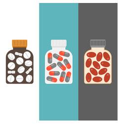 Medicine bottle with tablets inside vector