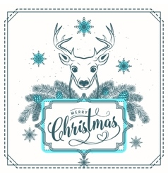 Merry Christmas greeting vector image