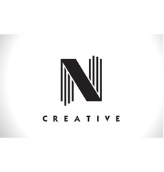 n logo letter with black lines design line letter vector image