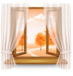 nature autumn background with wooden window frame vector image