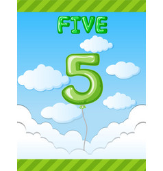 Number five balloon on sky vector