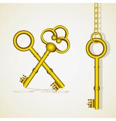 Old golden key dangling chain links vector