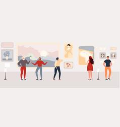 people looking on paintings in art galley vector image
