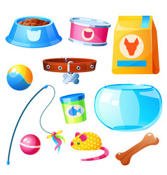 pet shop set with toys bowl feed and aquarium vector image