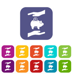 Piggy bank and hands icons set vector