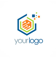 polygon data digital technology logo vector image