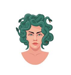 Portrait medusa gorgon with green snakes hair vector