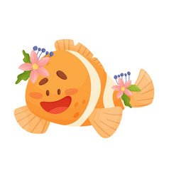Pretty animated baclownfish vector