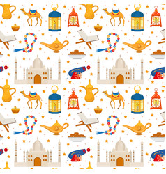 ramadan kareem seamless pattern with arabic design vector image