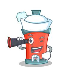 Sailor aerosol spray can character cartoon with vector