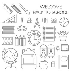 School supplies outline icon back to theme vector