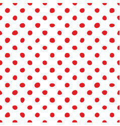 seamless pattern with tile red polka dots on white vector image