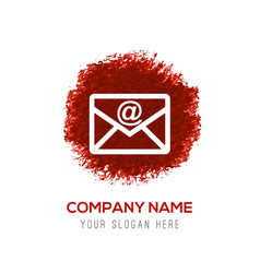 Send mail icon - red watercolor circle splash vector