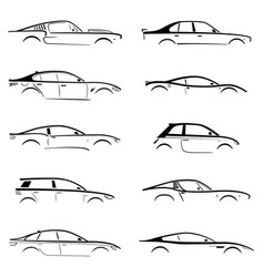 set concept black car silhouette vector image