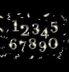 set elegant silver numbers vector image