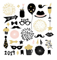 set hand drawn new year or birthday party vector image