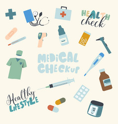 Set medical checkup and healthy lifestyle items vector