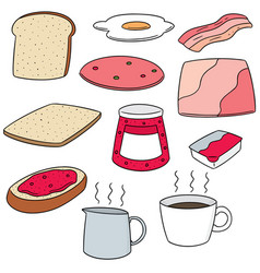 set of breakfast vector image
